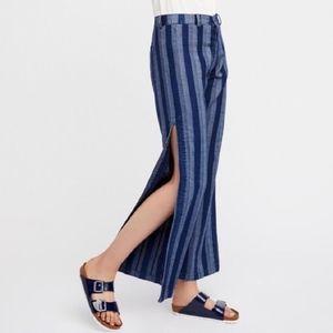 Free People Denim High Waist Slit Striped Pants A5